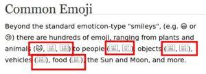 Textstelle ohne Emojisupport