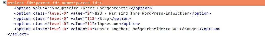 Dropdown-Einträge im HTML-Quelltext