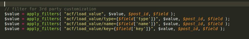 ACF-Quelltext load_value Hooks