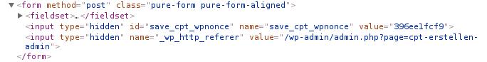 Beispiel für wp_nonce_field in Formularen.