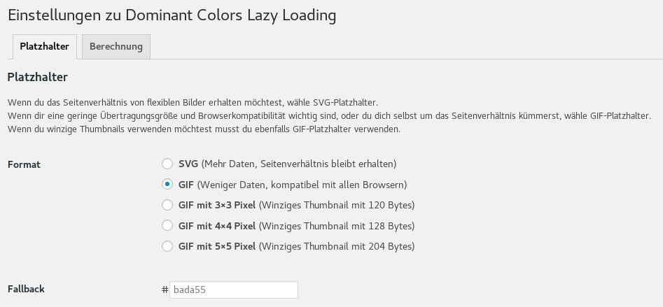Einstellungen des Plugins 'dominant colors lazy loading'